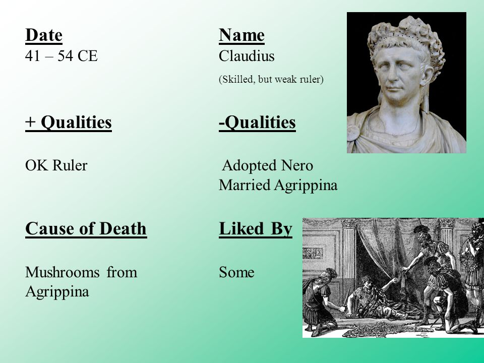 DateName 41 – 54 CEClaudius (Skilled, but weak ruler) + Qualities-Qualities OK Ruler Adopted Nero Married Agrippina Cause of DeathLiked By Mushrooms fromSome Agrippina