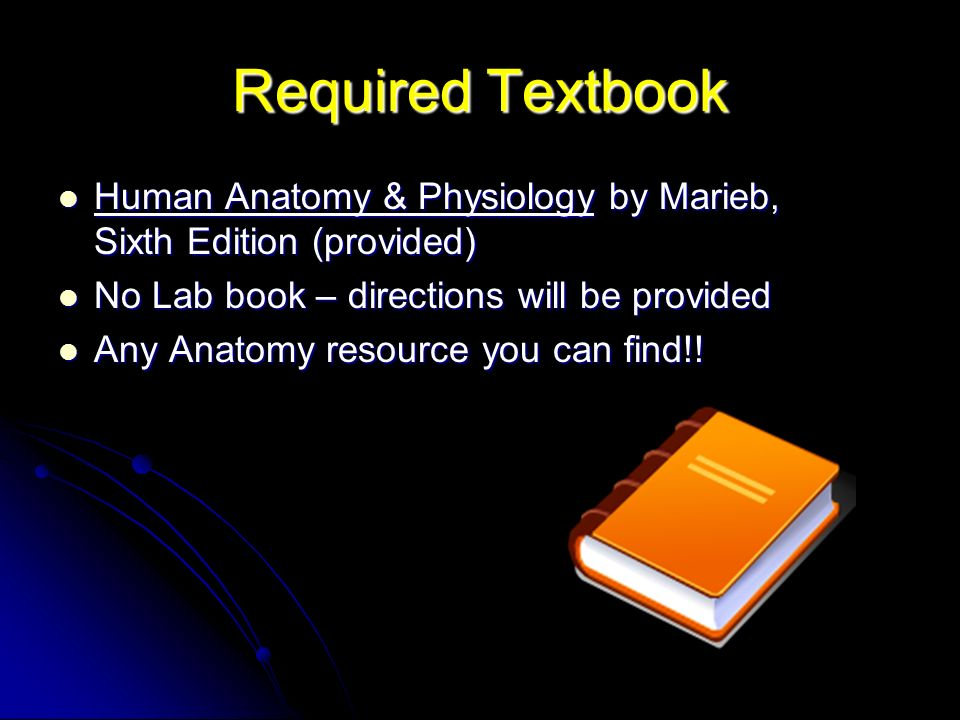 Required Textbook Human Anatomy & Physiology by Marieb, Sixth Edition (provided) Human Anatomy & Physiology by Marieb, Sixth Edition (provided) No Lab book – directions will be provided No Lab book – directions will be provided Any Anatomy resource you can find!.