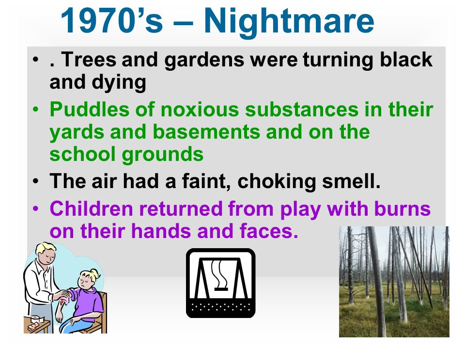 Trees and gardens were turning black and dying Puddles of noxious substances in their yards and basements and on the school grounds The air had a faint, choking smell.