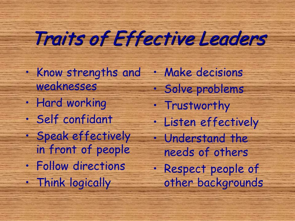 Traits of Effective Leaders Know strengths and weaknesses Hard working Self confidant Speak effectively in front of people Follow directions Think log