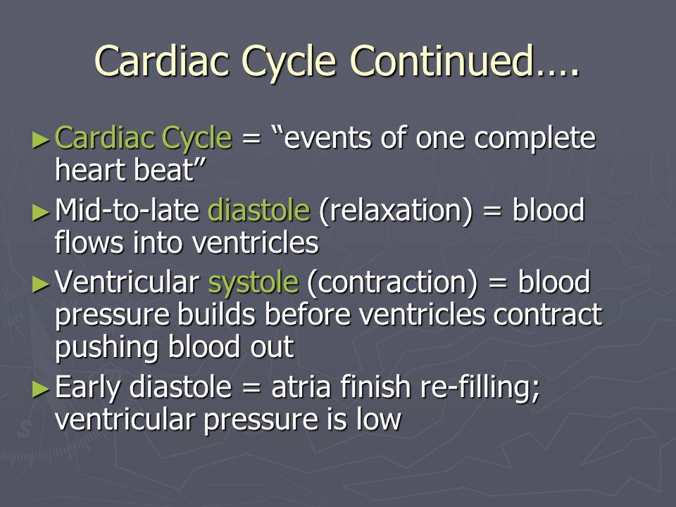 Cardiac Cycle Continued…. Cardiac Cycle = events of one complete heart beat Cardiac Cycle = events of one complete heart beat Mid-to-late diastole (re