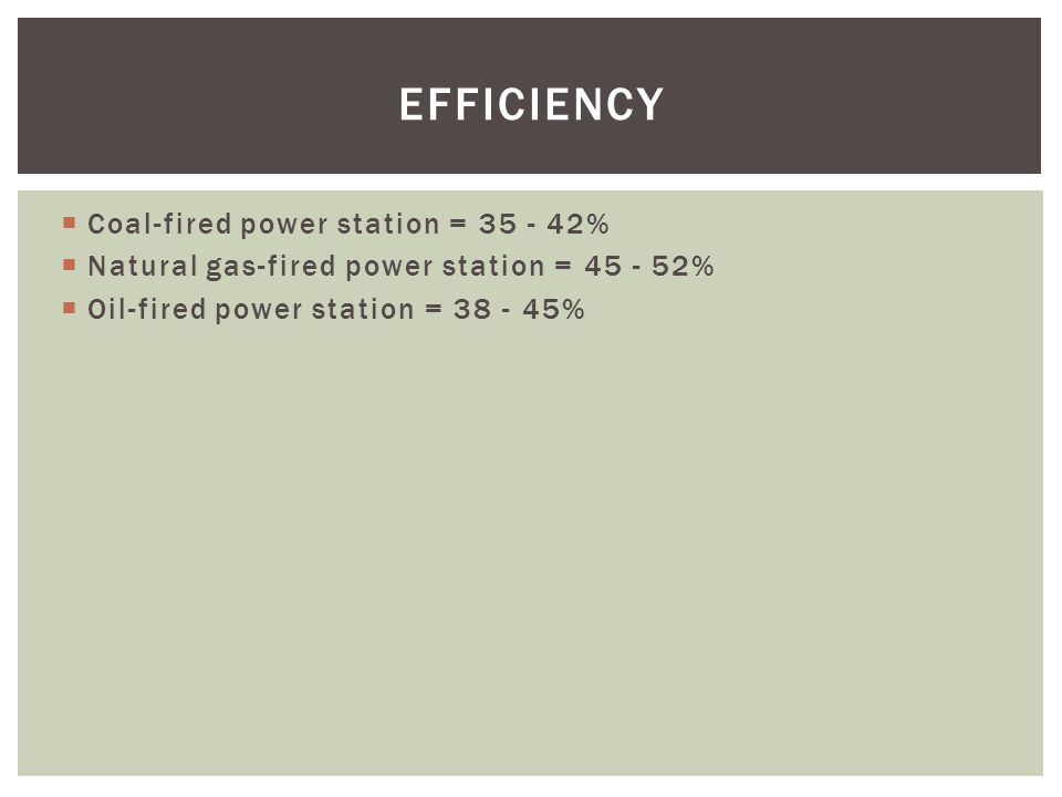 Coal-fired power station = % Natural gas-fired power station = % Oil-fired power station = % EFFICIENCY