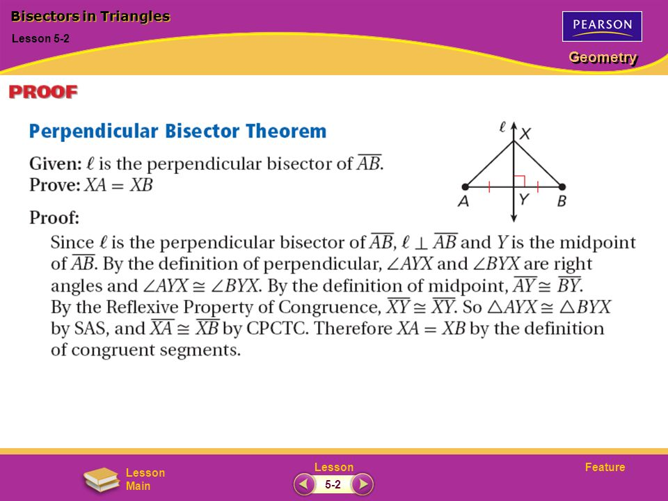 FeatureLesson Geometry Lesson Main Lesson 5-2 Bisectors in Triangles 5-2