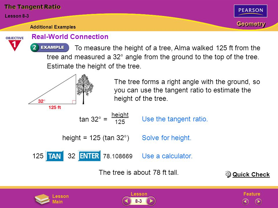 FeatureLesson Geometry Lesson Main To measure the height of a tree, Alma walked 125 ft from the tree and measured a 32° angle from the ground to the t