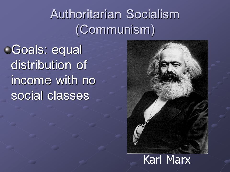 Authoritarian Socialism (Communism) Government owns all property Total government control of the economy Karl Marx