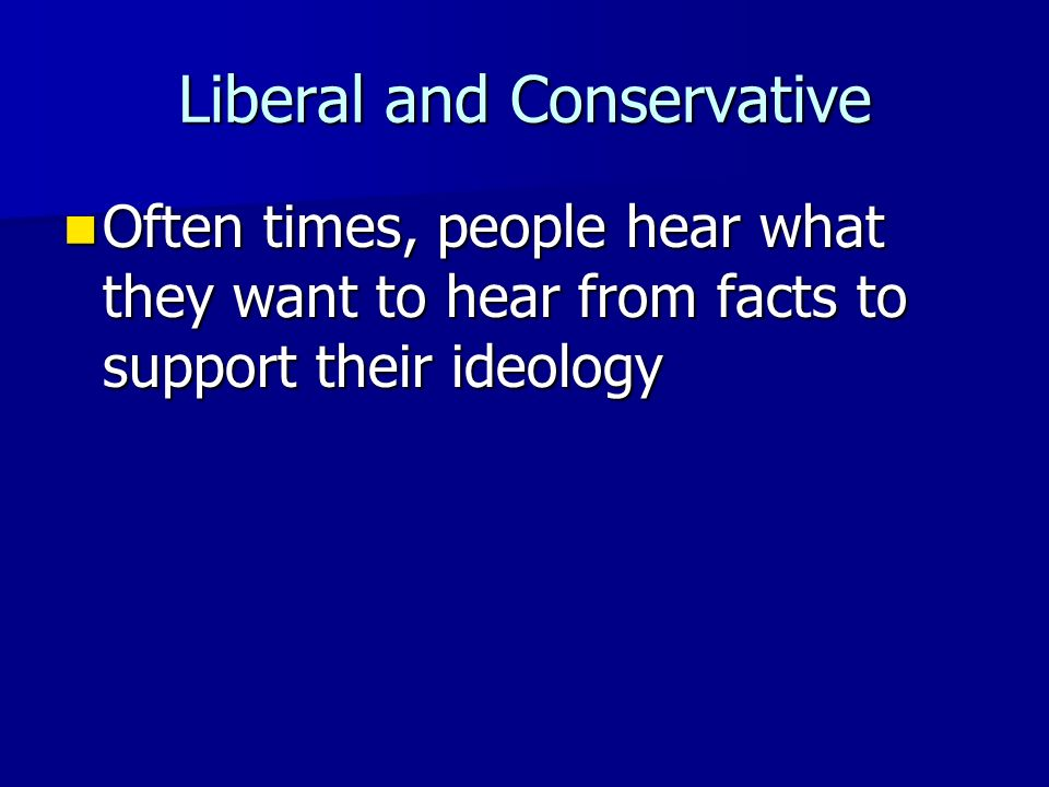 Liberal and Conservative Common Conservative Issues Common Conservative Issues –Anti-abortion –Allowing prayer in schools –Cutting taxes –Cutting regu