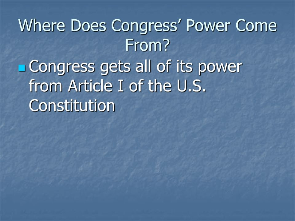 Implied Powers Necessary and Proper Clause – Where the implied powers come from Necessary and Proper Clause – Where the implied powers come from Tells Congress they can make any laws necessary and proper for carrying out their expressed powers Tells Congress they can make any laws necessary and proper for carrying out their expressed powers