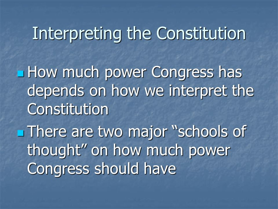 John Marshall and the Court Say: Any laws Congress passes, so long as they hold to the spirit of the Constitution, are okay Any laws Congress passes, so long as they hold to the spirit of the Constitution, are okay This is a liberal constructionist position This is a liberal constructionist position Since this case, Congress has used many implied powers Since this case, Congress has used many implied powers