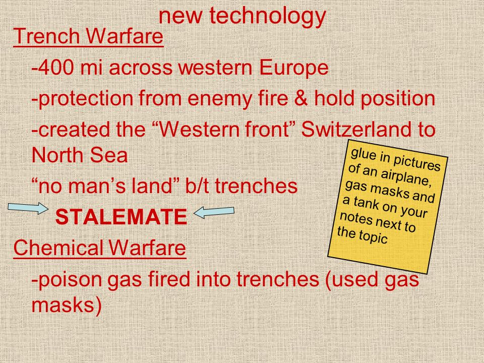 new technology Trench Warfare -400 mi across western Europe -protection from enemy fire & hold position -created the Western front Switzerland to Nort