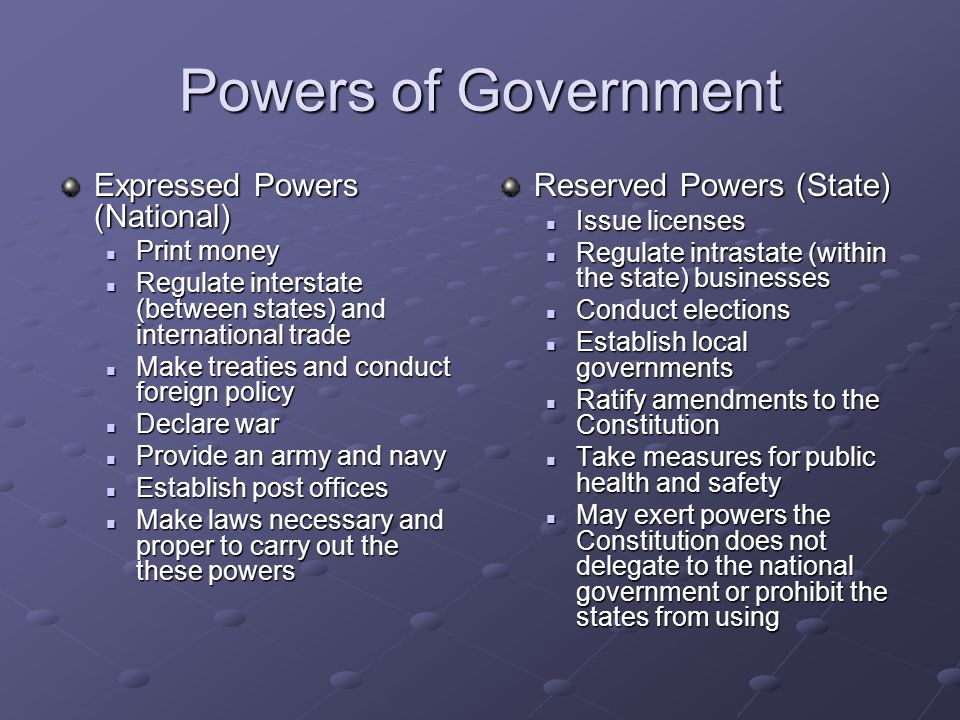 Powers of Government Expressed Powers (National) Print money Print money Regulate interstate (between states) and international trade Regulate interstate (between states) and international trade Make treaties and conduct foreign policy Make treaties and conduct foreign policy Declare war Declare war Provide an army and navy Provide an army and navy Establish post offices Establish post offices Make laws necessary and proper to carry out the these powers Make laws necessary and proper to carry out the these powers Reserved Powers (State) Issue licenses Regulate intrastate (within the state) businesses Conduct elections Establish local governments Ratify amendments to the Constitution Take measures for public health and safety May exert powers the Constitution does not delegate to the national government or prohibit the states from using