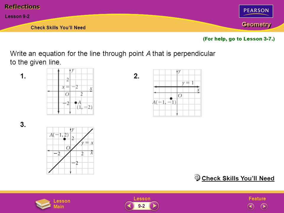 FeatureLesson Geometry Lesson Main Lesson 9-2 (For help, go to Lesson 3-7.) Write an equation for the line through point A that is perpendicular to th