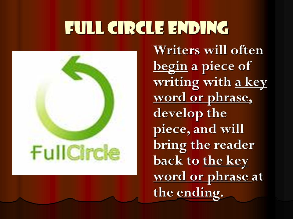 Full Circle Ending Writers will often begin a piece of writing with a key word or phrase, develop the piece, and will bring the reader back to the key