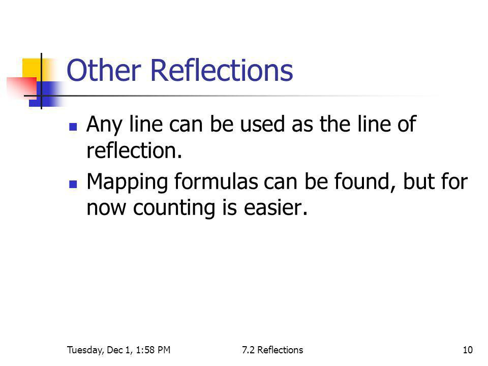 Tuesday, Dec 1, 1:58 PM7.2 Reflections10 Other Reflections Any line can be used as the line of reflection. Mapping formulas can be found, but for now