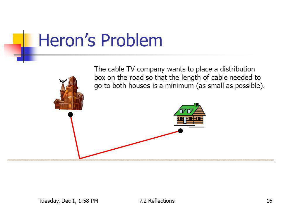 Tuesday, Dec 1, 1:58 PM7.2 Reflections16 Herons Problem The cable TV company wants to place a distribution box on the road so that the length of cable