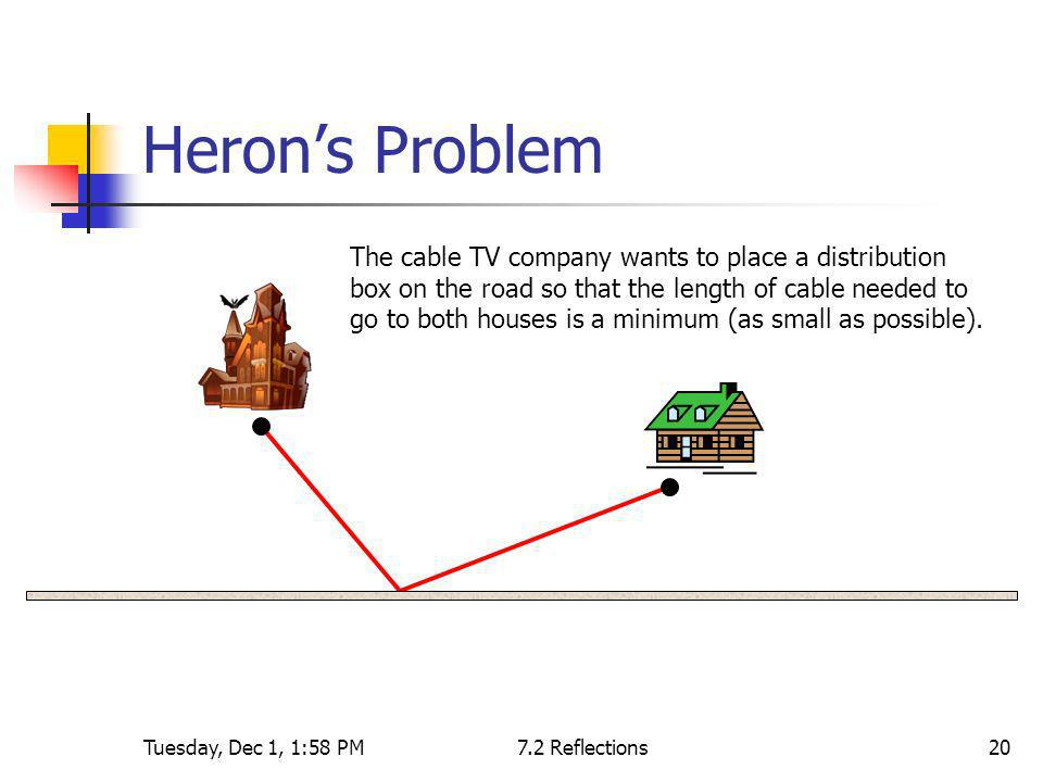 Tuesday, Dec 1, 1:58 PM7.2 Reflections20 Herons Problem The cable TV company wants to place a distribution box on the road so that the length of cable