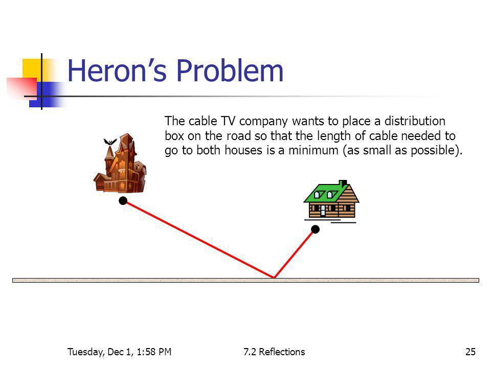 Tuesday, Dec 1, 1:58 PM7.2 Reflections25 Herons Problem The cable TV company wants to place a distribution box on the road so that the length of cable