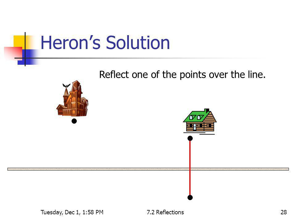Tuesday, Dec 1, 1:58 PM7.2 Reflections28 Herons Solution Reflect one of the points over the line.