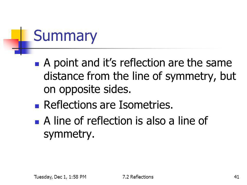 Tuesday, Dec 1, 1:58 PM7.2 Reflections41 Summary A point and its reflection are the same distance from the line of symmetry, but on opposite sides. Re
