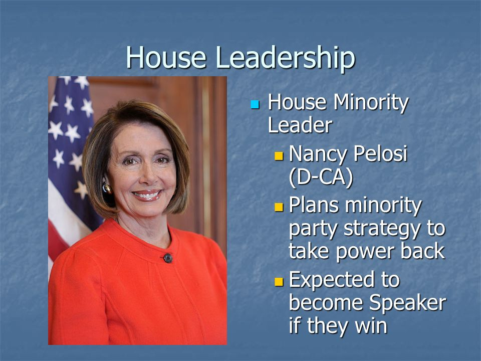 House Leadership Link between leadership and rank and file Link between leadership and rank and file Check who plans to vote and how Check who plans to vote and how Persuade defectors to vote with the party Persuade defectors to vote with the party
