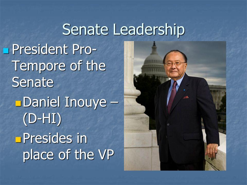 Senate Leadership Presides over the Senate Powerless and thankless job V.P.