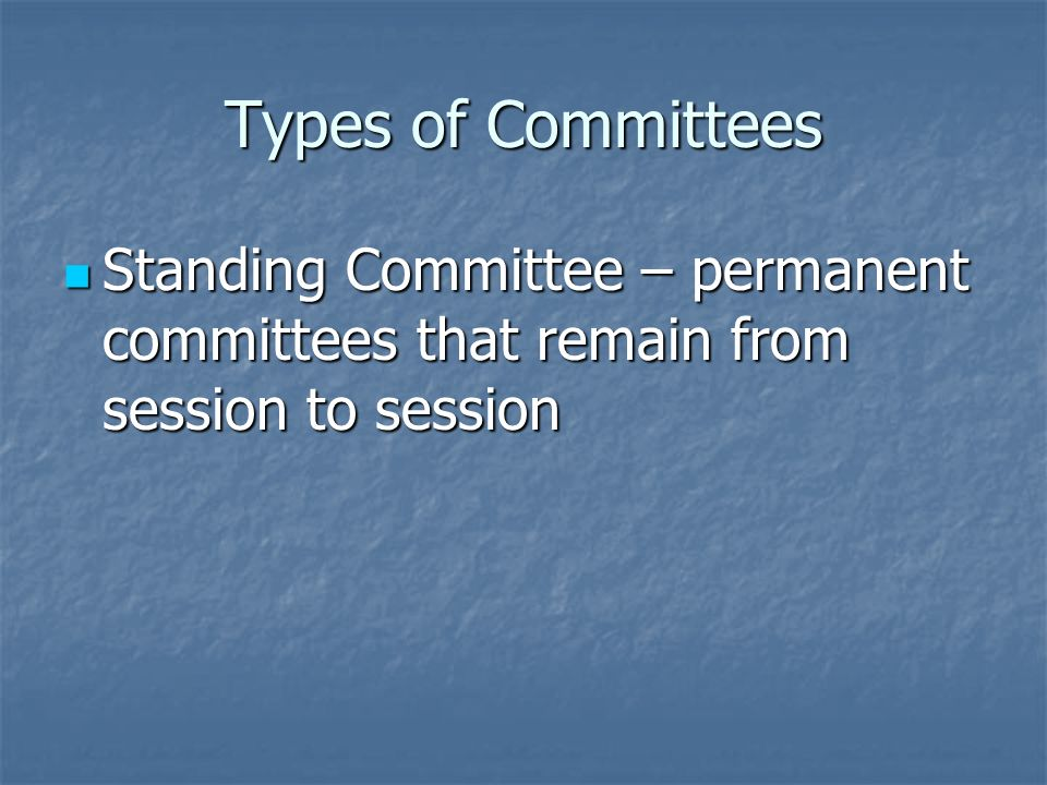 Committees Committee – expert groups of Congressmen who decide what bills will go to the whole house for a vote Committee – expert groups of Congressmen who decide what bills will go to the whole house for a vote Most work in Congress is done in committees Most work in Congress is done in committees