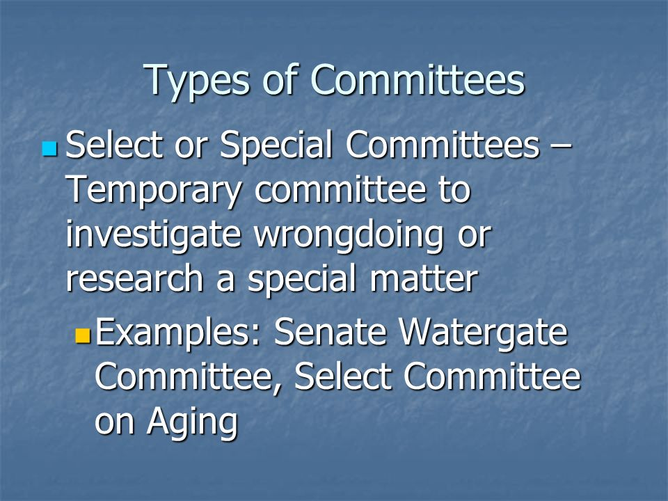 Current Standing Committees in the Senate Agriculture, Nutrition, and Forestry Agriculture, Nutrition, and Forestry Appropriations Appropriations Armed Services Armed Services Banking, Housing, and Urban Affairs Banking, Housing, and Urban Affairs Budget Budget Commerce, Science, and Transportation Commerce, Science, and Transportation Energy and Natural Resources Energy and Natural Resources Environment and Public Works Environment and Public Works Finance Finance Foreign Relations Foreign Relations Governmental Affairs Governmental Affairs Health, Education, Labor, and Pensions Health, Education, Labor, and Pensions Indian Affairs Indian Affairs Judiciary Judiciary Rules and Administration Rules and Administration Small Business Small Business Veterans Affairs Veterans Affairs