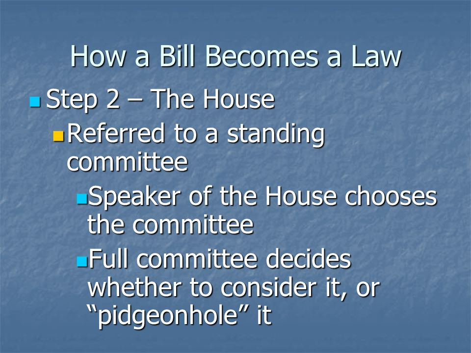 How a Bill Becomes a Law Step 1 – The House Step 1 – The House Bill is introduced Bill is introduced Can only be introduced by a member of the House Can only be introduced by a member of the House Bill is read to the entire chamber Bill is read to the entire chamber