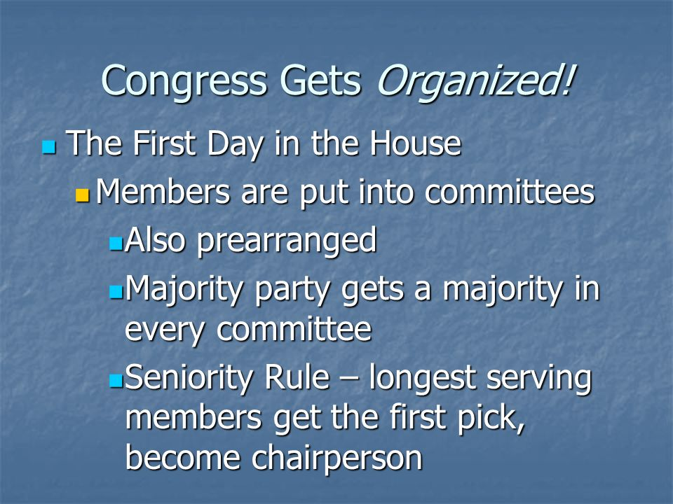 Congress Gets Organized! The First Day in the House The First Day in the House All members are sworn in All members are sworn in House elects the Spea