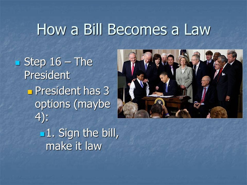 How a Bill Becomes a Law Step 14 – The Senate Step 14 – The Senate Senate votes Senate votes Step 15 – Conference Committee Step 15 – Conference Commi