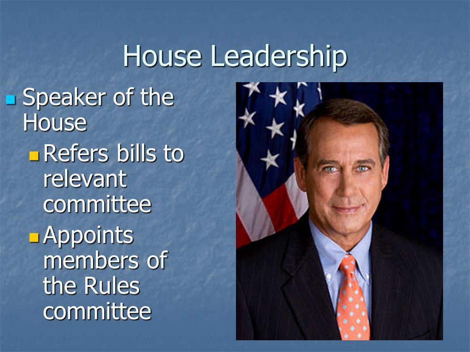 House Leadership Speaker of the House Speaker of the House John Boehner (R-OH) John Boehner (R-OH) Presides over House session Presides over House session