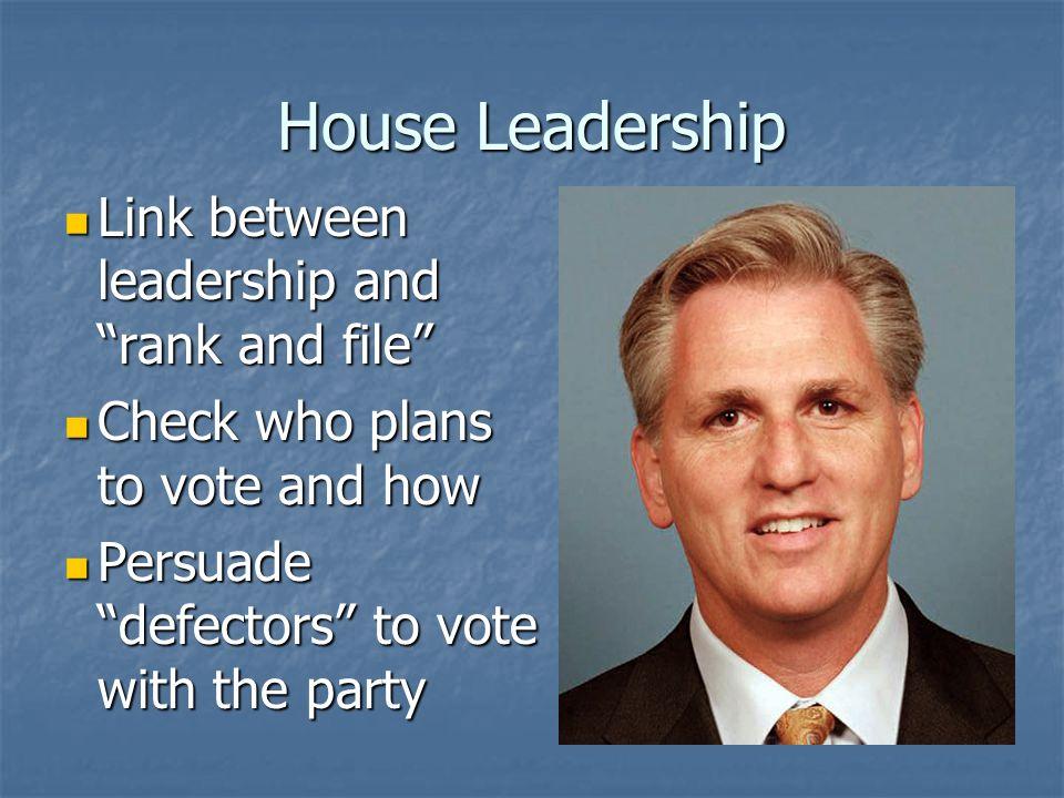 House Leadership House Majority Whip House Majority Whip Kevin McCarthy (R-CA) Kevin McCarthy (R-CA) Right hand man of Maj.