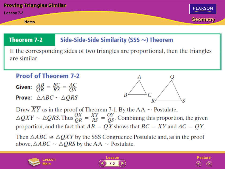 FeatureLesson Geometry Lesson Main Lesson 7-3 Proving Triangles Similar Notes 7-3