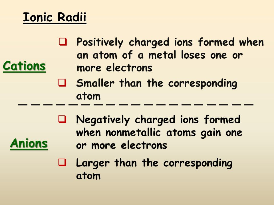 Ionic Radii Cations Positively charged ions formed when an atom of a metal loses one or more electrons Smaller than the corresponding atom Anions Nega