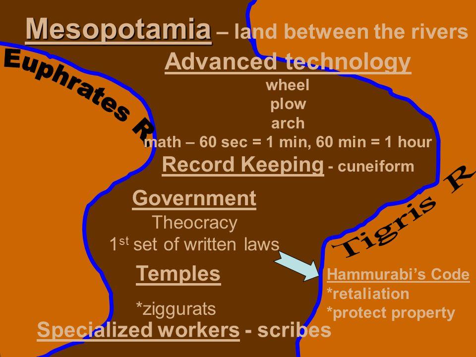 Mesopotamia Mesopotamia – land between the rivers Advanced technology wheel plow arch math – 60 sec = 1 min, 60 min = 1 hour Record Keeping - cuneifor