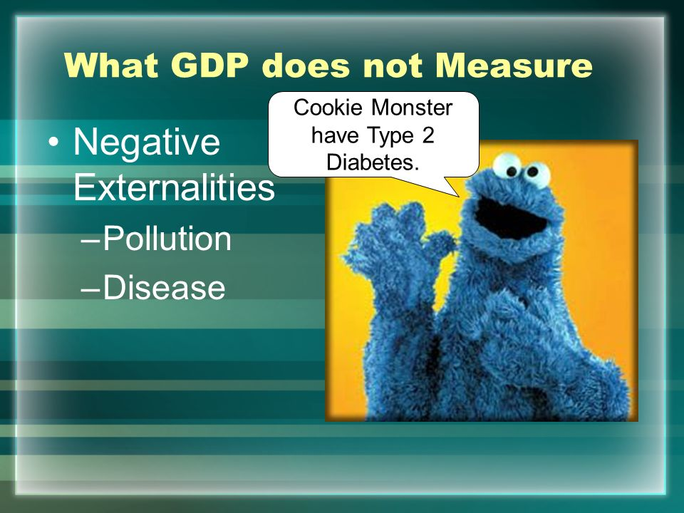 What GDP does not Measure Underground Economy –Black markets –Drug dealing –Gambling Cookie Monster want $2Gs on Cookie!