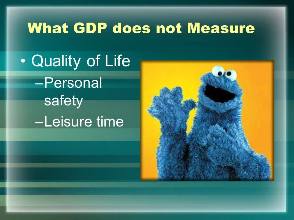 What GDP does not Measure Negative Externalities –Pollution –Disease Cookie Monster have Type 2 Diabetes.