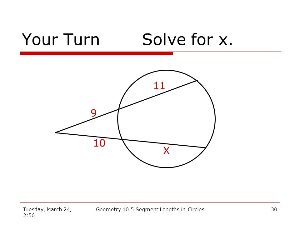 Tuesday, March 24, 2:56 Geometry 10.5 Segment Lengths in Circles29 Example 3Solve for x. 5 8 6 X Solution: 5(5 + 8) = 6(6 + x) 5(13) = 36 + 6x 65 = 36