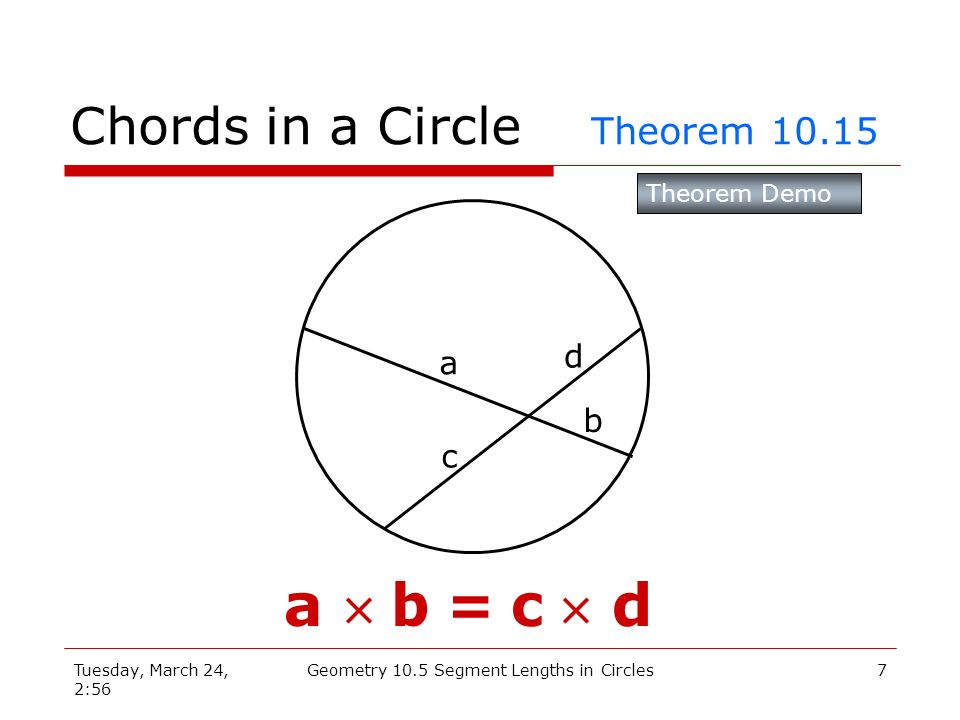 Tuesday, March 24, 2:56 Geometry 10.5 Segment Lengths in Circles6 10.5 Chords in a Circle