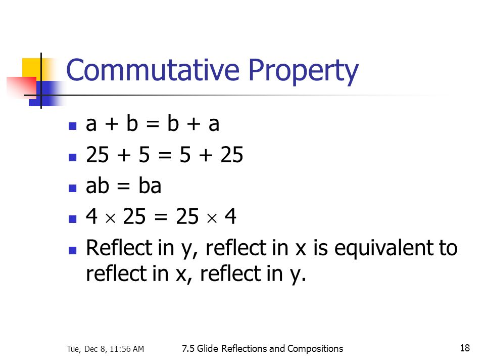 Tue, Dec 8, 11:56 AM 7.5 Glide Reflections and Compositions 18 Commutative Property a + b = b + a 25 + 5 = 5 + 25 ab = ba 4 25 = 25 4 Reflect in y, re