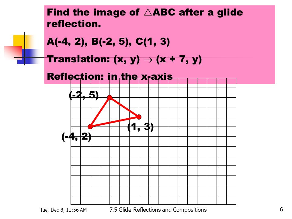 Tue, Dec 8, 11:56 AM 7.5 Glide Reflections and Compositions 6 Find the image of ABC after a glide reflection. A(-4, 2), B(-2, 5), C(1, 3) Translation: