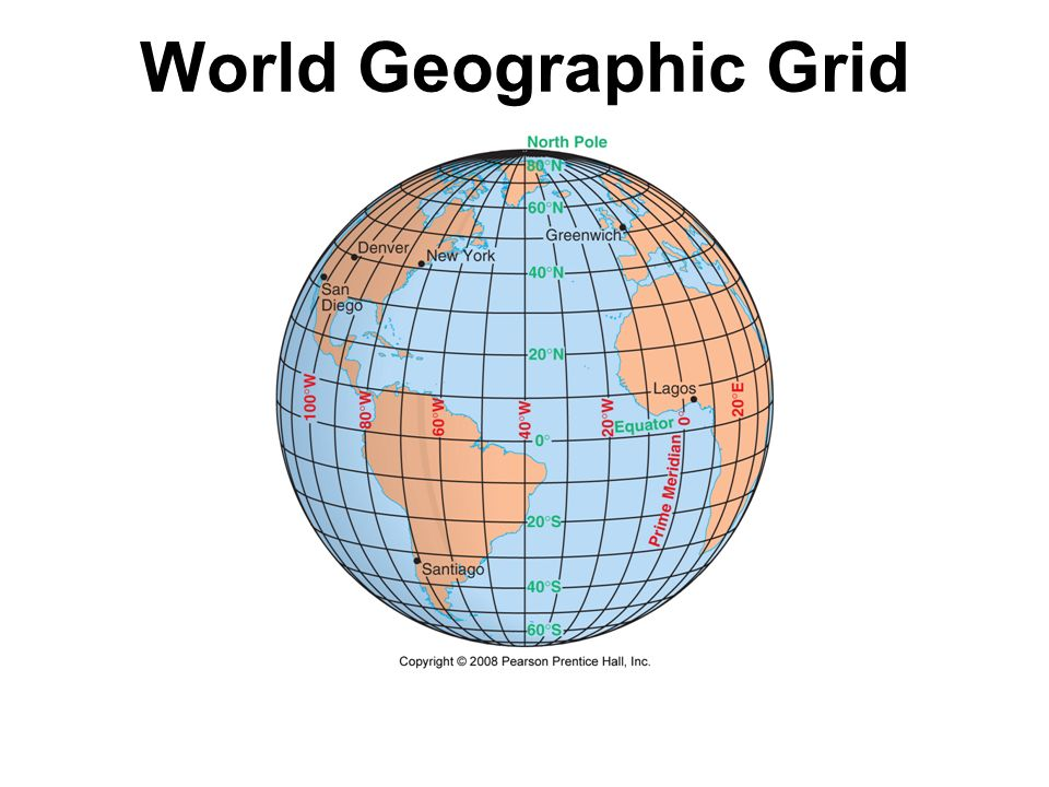 World Geographic Grid Fig. 1-8: The world geographic grid consists of meridians of longitude and parallels of latitude. The prime meridian ( 0º) passe