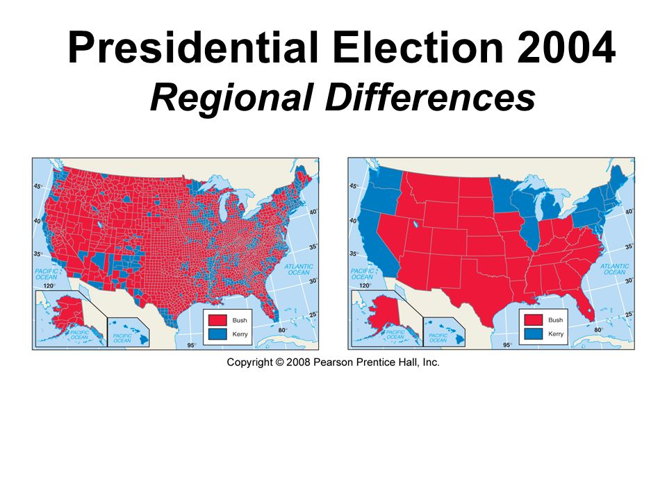 Presidential Election 2004 Regional Differences Fig. 1-10: Presidential election results by county & state illustrate differences in regional voting p
