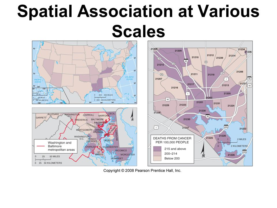 Spatial Association at Various Scales Fig. 1-13: Death rates from cancer in the US, Maryland, and Baltimore show different patterns that can identify