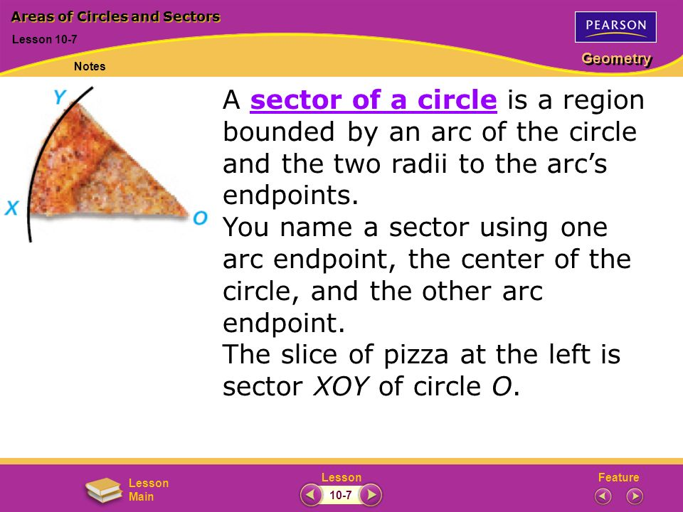 FeatureLesson Geometry Lesson Main Lesson 10-7 Areas of Circles and Sectors Notes 10-7 A sector of a circle is a region bounded by an arc of the circle and the two radii to the arcs endpoints.