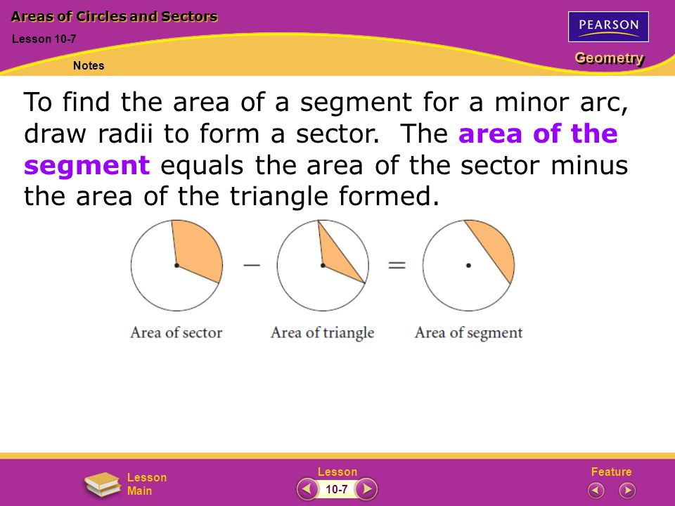 FeatureLesson Geometry Lesson Main Lesson 10-7 Areas of Circles and Sectors Notes 10-7 To find the area of a segment for a minor arc, draw radii to form a sector.