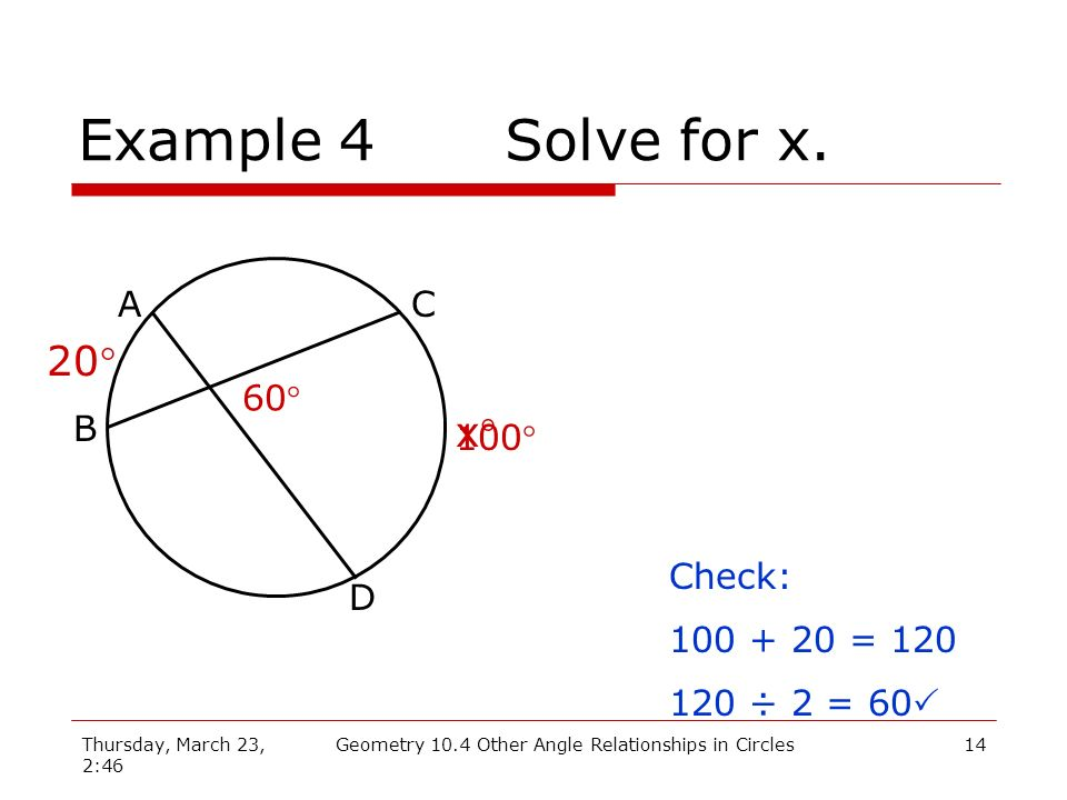 Thursday, March 23, 2:46 Geometry 10.4 Other Angle Relationships in Circles14 Example 4Solve for x. A B C D 60 20 x 100 Check: 100 + 20 = 120 120 ÷ 2