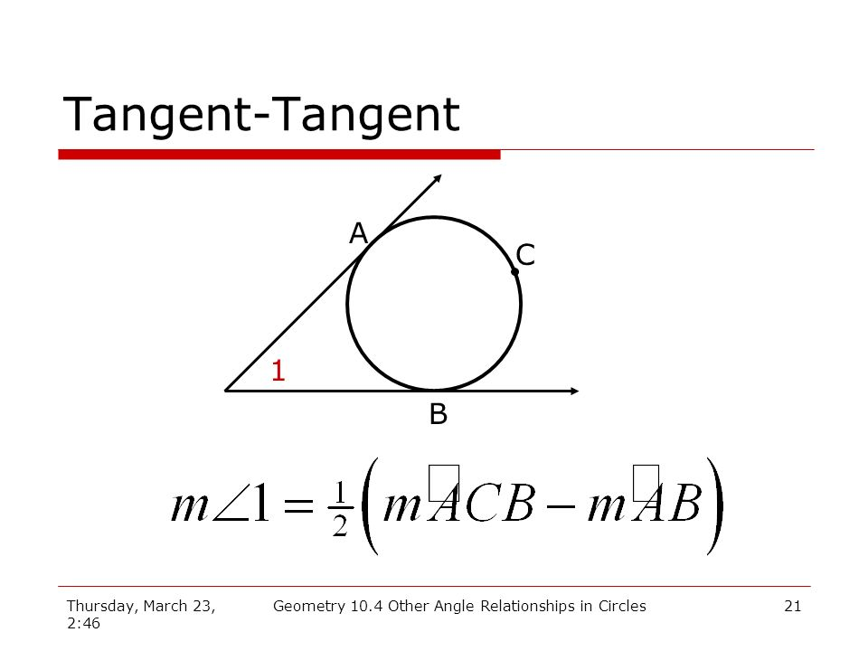 Thursday, March 23, 2:46 Geometry 10.4 Other Angle Relationships in Circles21 Tangent-Tangent A B 1 C