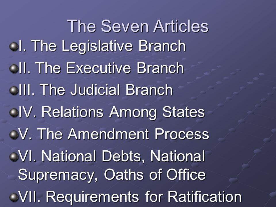 The Seven Articles I.The Legislative Branch II. The Executive Branch III.