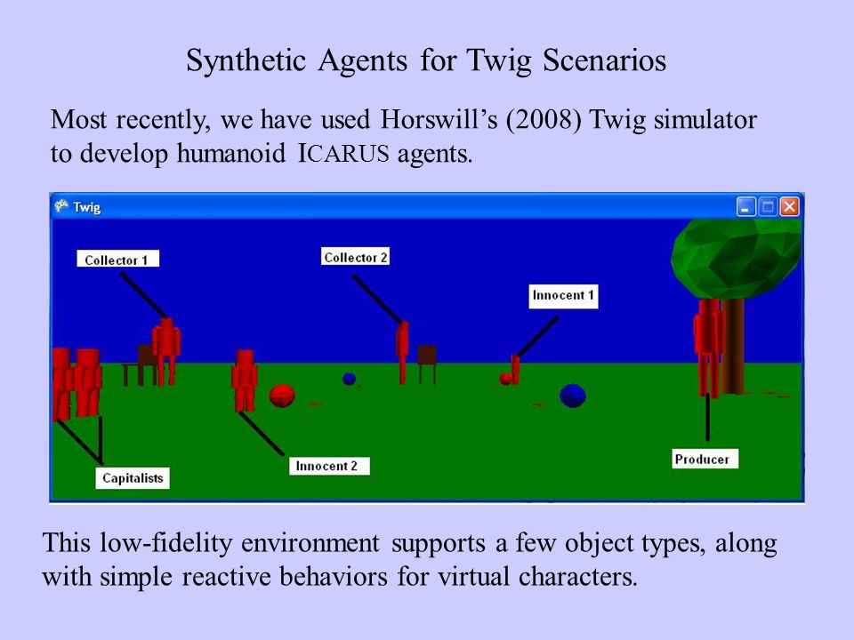 Synthetic Agents for Twig Scenarios Most recently, we have used Horswills (2008) Twig simulator to develop humanoid I CARUS agents.