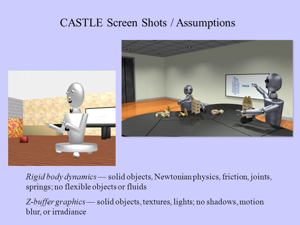 Rigid body dynamics solid objects, Newtonian physics, friction, joints, springs; no flexible objects or fluids Z-buffer graphics solid objects, textures, lights; no shadows, motion blur, or irradiance CASTLE Screen Shots / Assumptions